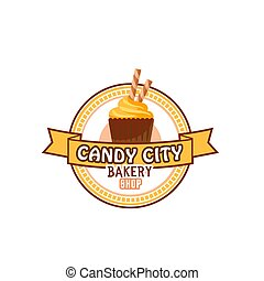 Candy shop cupcake or pastry cake vector icon - Candy shop...