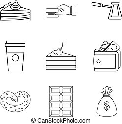 Candy shop icon set, outline style