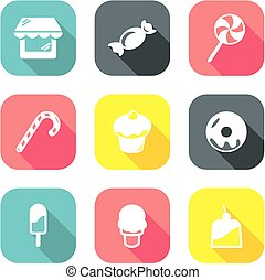 Candy Shop Icons Flat Design 1
