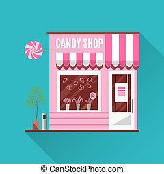 Candy shop in a pink color. Flat vector design