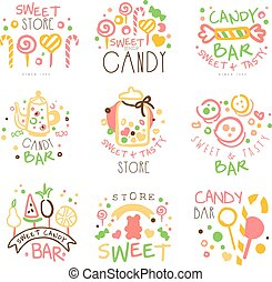 Candy Shop Promo Signs Set Of Colorful Vector Design...