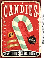 Candy shop retro sign design. Vector illustration.