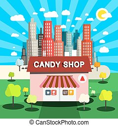 Candy Shop Vector Flat Design Illustration with City on Background
