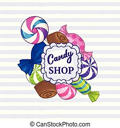 Candy shop. Vector striped background with frame of candies ...