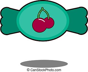 Candy sign illustration. Vector. Green with cherry icon on white background.