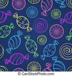 Candy Silholuette Seamless Pattern