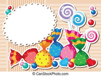 candy sticker background - illustration of a candy sticker...