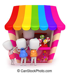 Candy Store - 3D Illustration of Kids Buying Candies