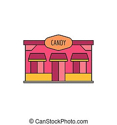 Candy store icon, cartoon style