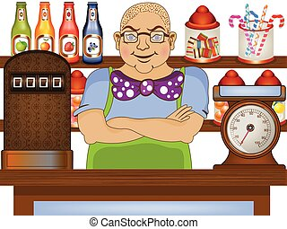 candy store salesman - Cartoon vector illustration of a ...