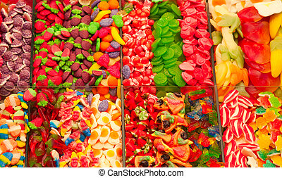 Candy store - Candy in the Boqueria market in Barcelona,...