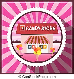 Candy Store. Vector Pink Retro Cover Design.