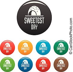 Candy sweet day icons set color