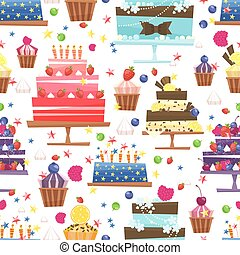 Candy, sweets and cakes seamless pattern background