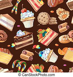 Candy, sweets and cakes vector seamless pattern