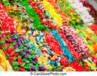 Candy sweets jelly in colorful display shop