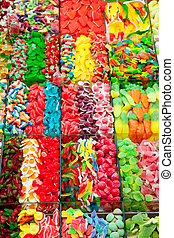 Candy sweets jelly in colorful display
