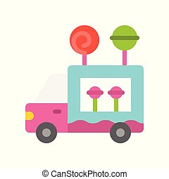 Candy truck vector, Food truck flat style icon