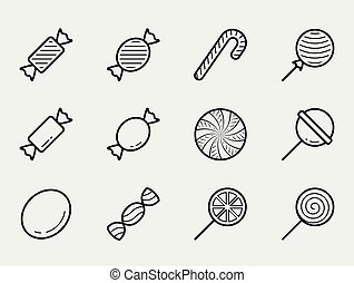 Candy vector icon set in thin line style