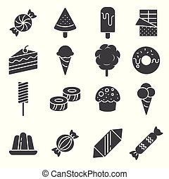 Candy vector icon set on white background