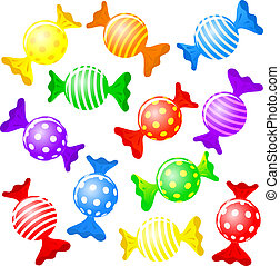 candy - vector illustration of many colorful candies and ...