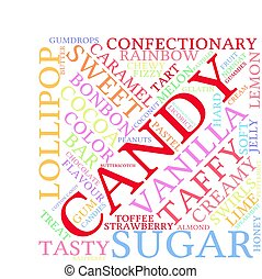 Candy word cloud on a white background.