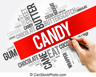 Candy word cloud collage