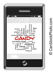 Candy Word Cloud Concept on a Touchscreen Phone
