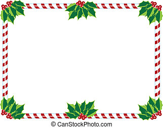 candycane frame - A holiday frame of candy-cane and holly