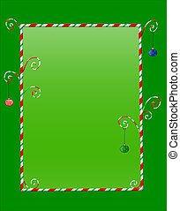 Whimsical Christmas frame of candycanes with hanging ornaments