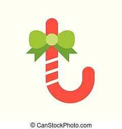 Candycane vector, Christmas related flat style icon - ...
