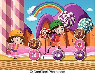 candyland, 子供, 2, rollerskate