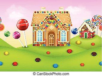 candyland, casa, gingerbread, doce