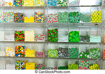 candys and sweets different colors in supermarket