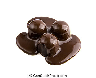 candys in a chocolate on a white background