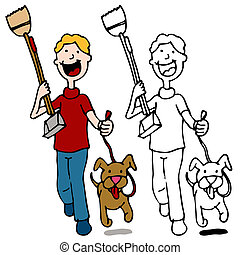 cane ambulante, pooper, presa a terra, scooper, uomo