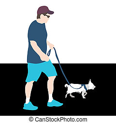 cane ambulante, uomo