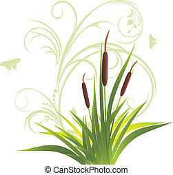 Cane and grass with floral ornament. Vector illustration