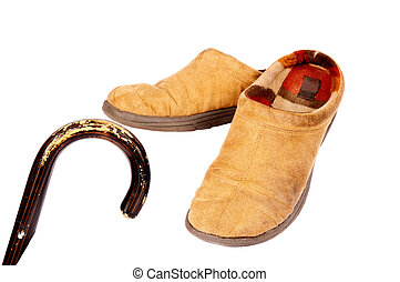 Cane And Slippers - Walking cane and mens' slippers, white ...
