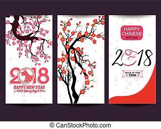 cane, anno nuovo, cinese, felice, 2018