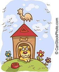 cane, cabina, cartone animato