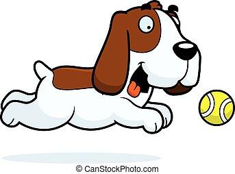 cane caccia bassetta, inseguire, cartone animato, palla