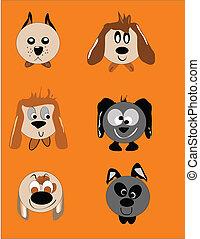cane, cartone animato, facce