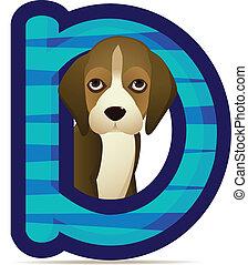 cane, con, alfabeto, d