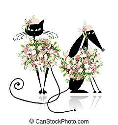 cane, gatto, disegno, glamor, floreale, tuo, vestiti