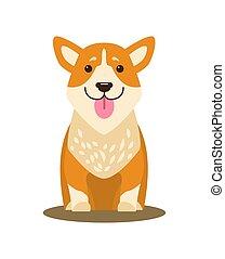 cane, illustrazione, appiccicato, vettore, lingua fuori, icona
