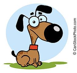 cane, illustrazione, cartone animato