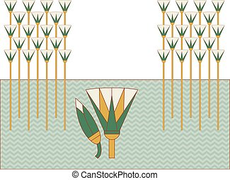 Cane in swamp compostion, ornamental cane element of Ancient Egypt