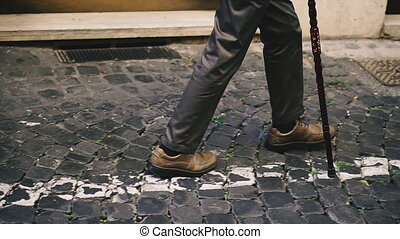cane., invalide, grand-père, road., canne