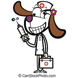 cane, kit, siringa, aiuto, infermiera, cartone animato, primo